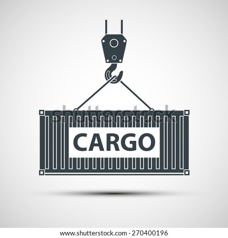 Crane lifts a container with cargo. Vector image. - stock vector