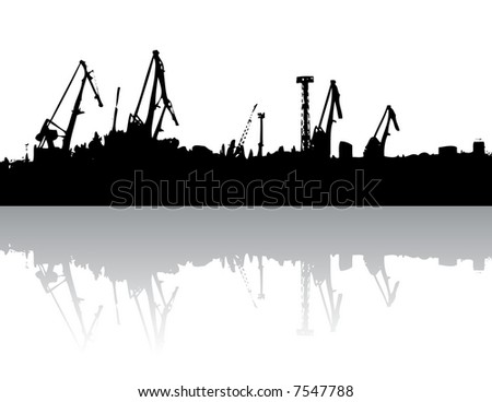 Crane silhouette with gradient reflection(vector, illustration) - stock vector