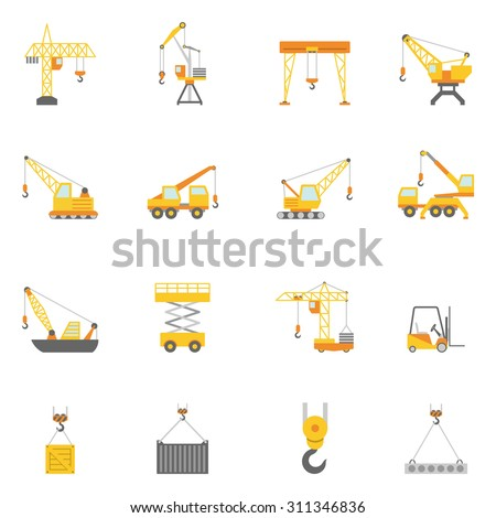 Cranes in construction industry flat icons set with truck mounted and tower crane abstract isolated vector illustration - stock vector