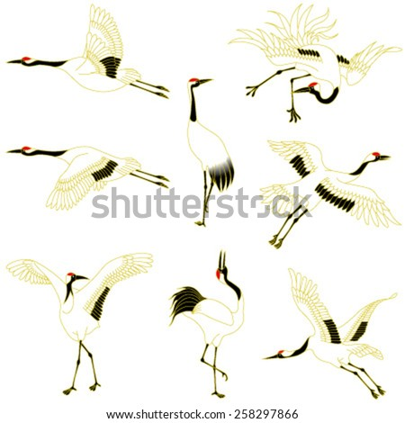 cranes, isolated on white background. - stock vector