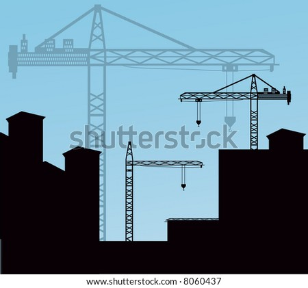 cranes over buildings (use together or separately) - stock vector