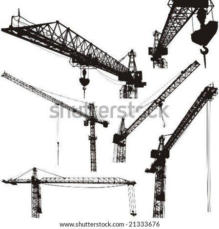cranes silhouettes vector illustration high quality details
