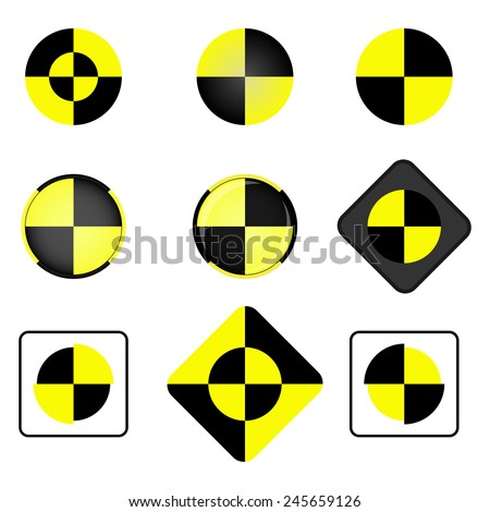 Crash test vector icon set. Crash test symbol. - stock vector