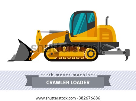 Crawler loader. Heavy equipment vehicle isolated color vector illustration.