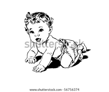 Crawling Baby - Retro Clip Art - stock vector