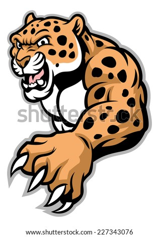 crawling leopard - stock vector