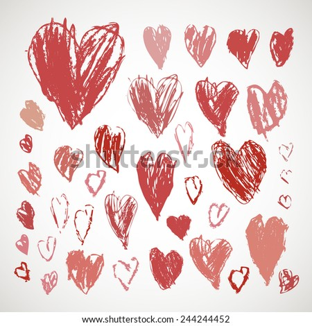 Crayon and pastel grunge hearts set for Valentine's day. Hand drawn sketch.  Vector illustration. - stock vector
