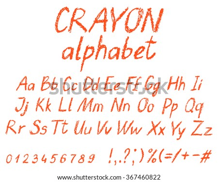 Crayon child's drawing alphabet. Pastel chalk font. ABC drawing letters. Kids drawn red characters. Vector. - stock vector