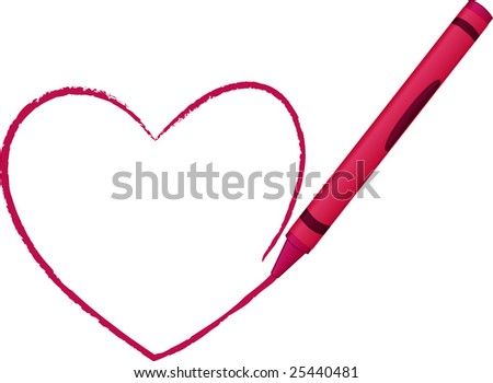 Crayon drawing a simple heart - vector illustration