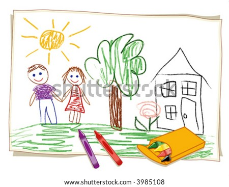 Crayon Drawing by child, box of crayons, girl, boy, house, tree and flower in a sunny landscape. EPS8 compatible.