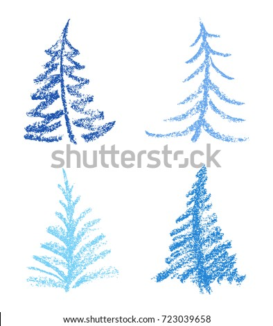 Crayon Like Childs Drawing Style Of Merry Christmas Tree Set Hand Drawn Pastel Blue Color