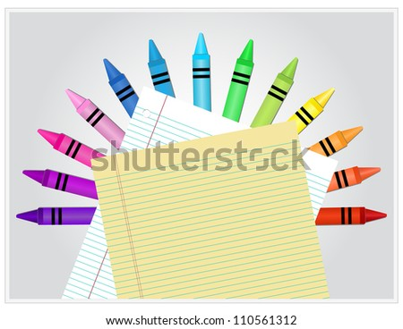 Crayons displayed in a semicircle behind white and yellow lined paper - stock vector