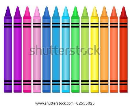 Crayons - Set of crayons displayed in a horizontal spectrum - stock vector