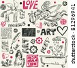 crazy art doodles, hand drawn design elements - stock photo