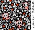 Crazy babies seamless pattern. Vector illustration of children and skulls. - stock vector