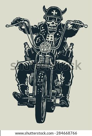 crazy biker skull in motorcycle glasses, helmet with horns. biker symbol. engraving style. vector illustration. - stock vector