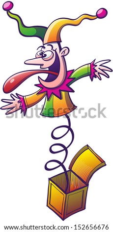 Crazy buffoon dressed colorfully, smiling enthusiastically, showing a mad expression and sticking his long tongue out while bouncing and emerging from a little yellow box - stock vector