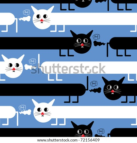 Crazy cats on blue background - seamless pattern