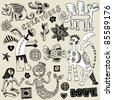 crazy childlike doodles, hand drawn design elements - stock photo