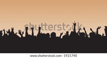 Crazy crowd silhouette cheering away.  Great background can be resized to your desire. - stock vector