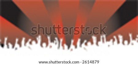 Crazy crowd silhouette vector with crazy background - stock vector