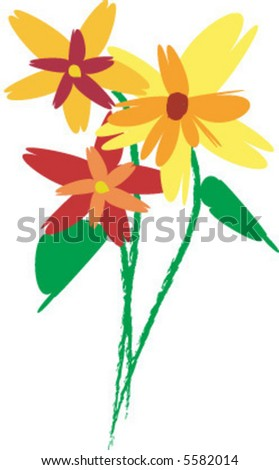 Crazy Daisies - stock vector