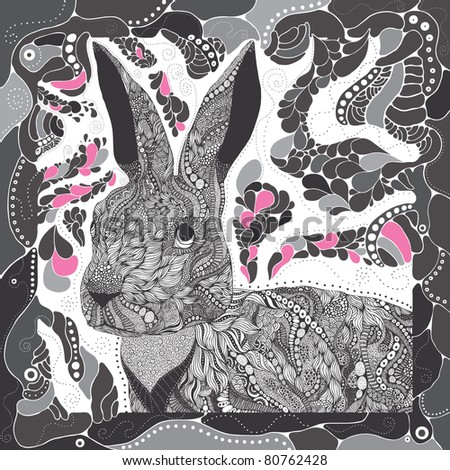 crazy detailed rabbit on abstract background - stock vector