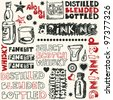 crazy drinking doodles, hand drawn design elements - stock vector
