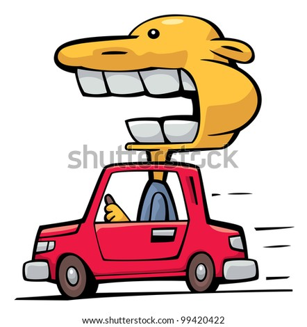Crazy driver with big head over the roof speeding up against wind - stock vector