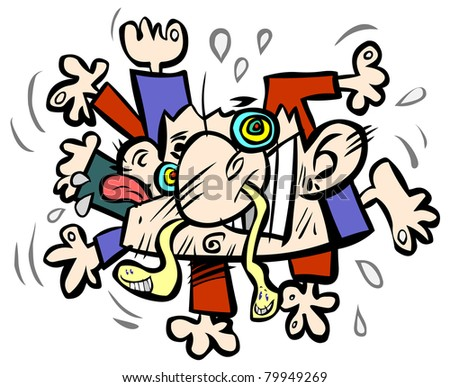 Crazy funny abstract human creature. - stock vector