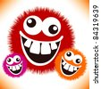 Crazy furry funny face cartoon design. - stock photo