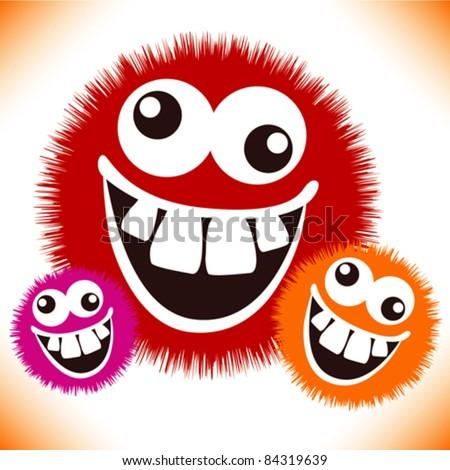 Crazy furry funny face cartoon design. - stock vector