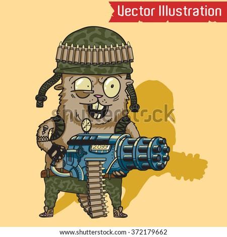 Crazy hamster with a machine gun. Vector illustration. - stock vector
