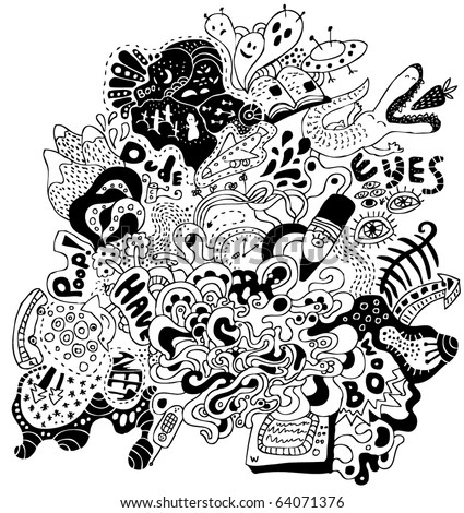 crazy hand-drawn psychedelic doodle - stock vector