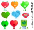 crazy hearts - stock vector