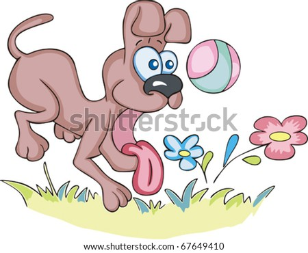 Crazy joyful dog sticked out his tongue and playing a ball near flowers. Vector EPS Illustration of a dog in cartoon style.