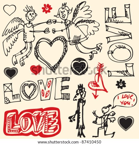 crazy love doodles, hand drawn design elements - stock vector