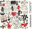 crazy love doodles, vector design elements - stock vector