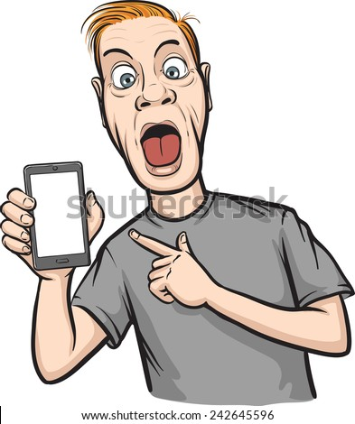 crazy man showing a mobile app on a smart phone - stock vector