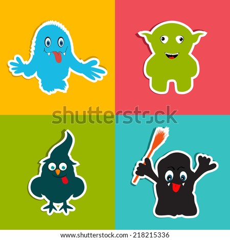 Crazy monster on colorful background for Happy Halloween party celebrations.