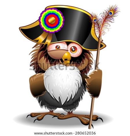 Crazy Owl Cartoon Napoleon Bonaparte  - stock vector