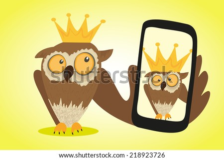 Crazy owl is doing selfie for social networks - stock vector