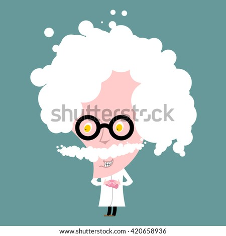 Crazy professor in white coat. Nutty Scientist keeps brain. Scientific worker of glasses. genius Gray-haired old man with mustache