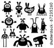 crazy rabbits set04 - stock vector