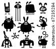 crazy rabbits set03 - stock vector