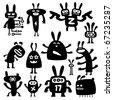 crazy rabbits set05 - stock vector