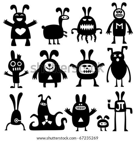 crazy rabbits set02 - stock vector