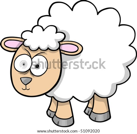 Crazy Sheep Lamb Vector Illustration - stock vector
