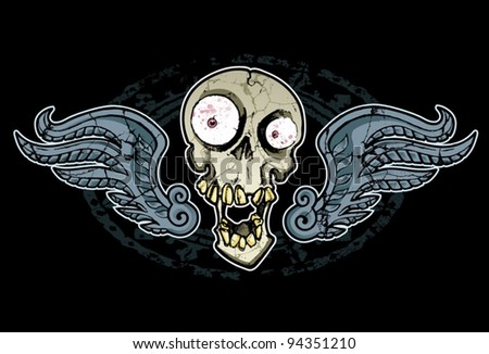 Crazy Skull and Wings - stock vector