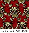 Crazy skulls seamless pattern. Skulls with angry look, red eyes, yellow teeth and crossbones. Vector background. Layered, easy to edit. - stock